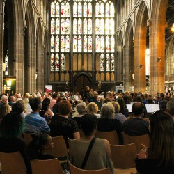A view of the crowd and the beautiful St Mary's church with its spectacular stained glass windows