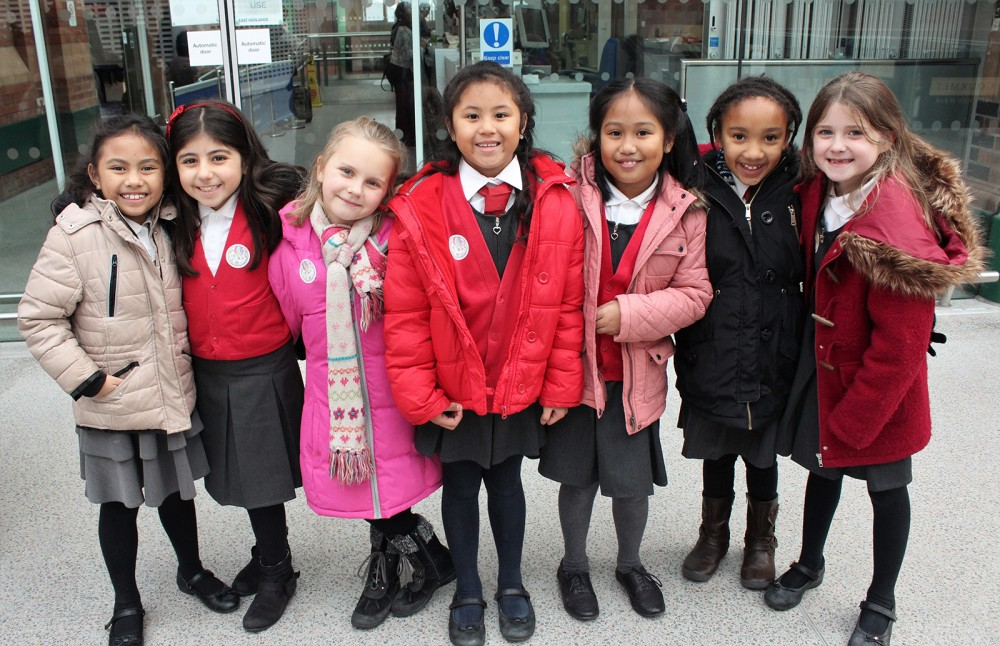 Primary pupils from St Margaret Clitherow just before their performance at the Nottingham train station, as part of the launch for the charity single If Every Child Could